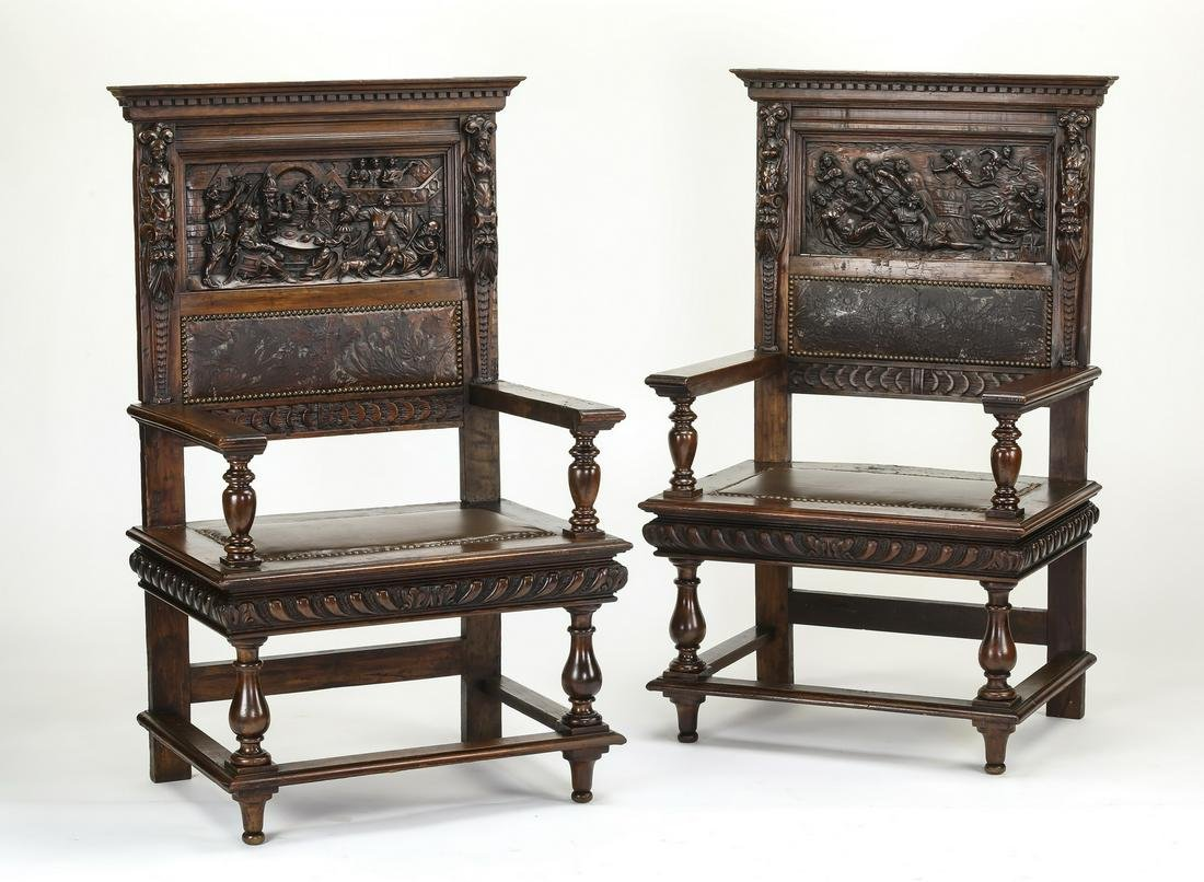 (2) 19th c. French walnut and leather armchairs
