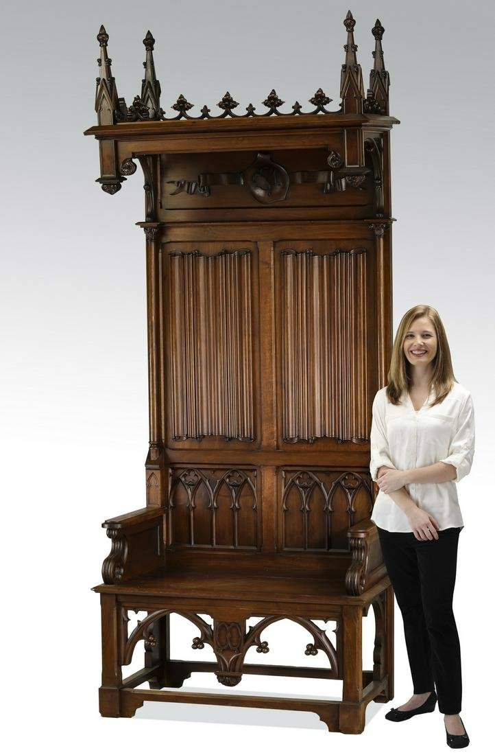 Monumental French Gothic Revival walnut armchair