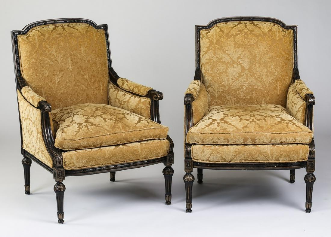 (2) Louis XVI style fauteuils, upholstered in velvet
