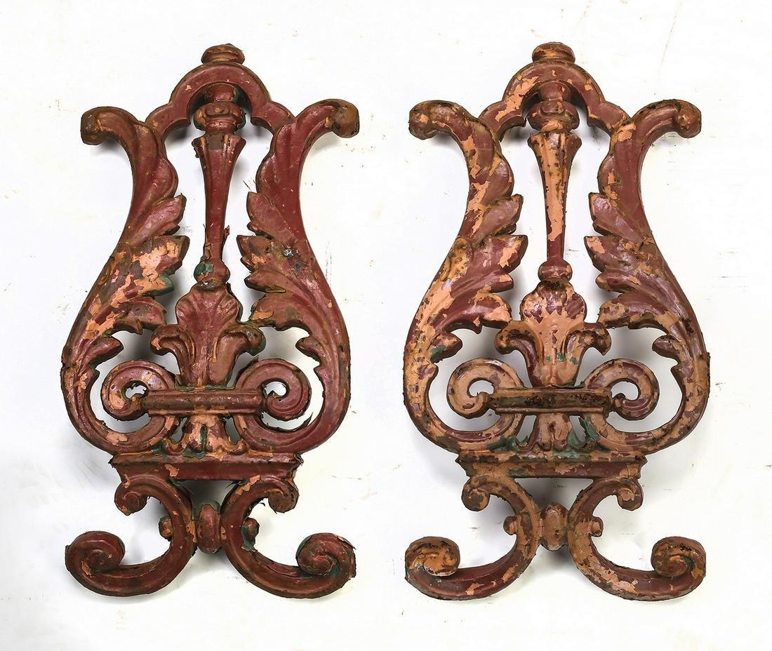 Pair of vintage cast iron architectural elements