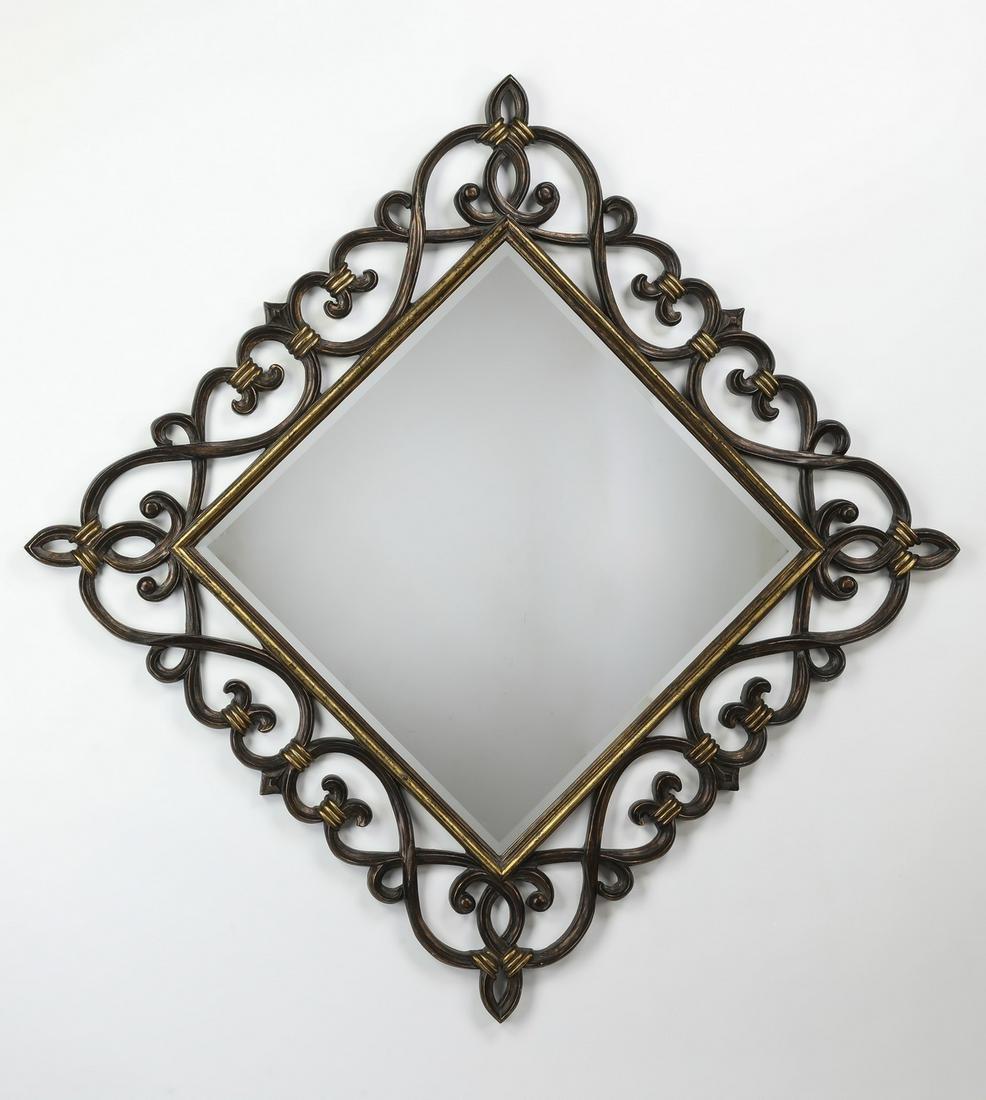 "Diamond shaped beveled mirror, 64"" square"