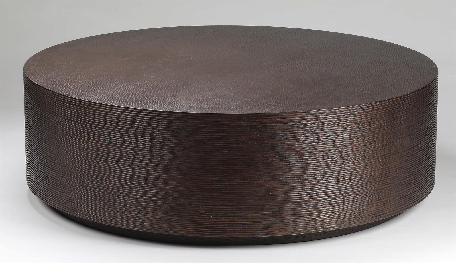 "Contemporary espresso cocktail table, 43""dia"