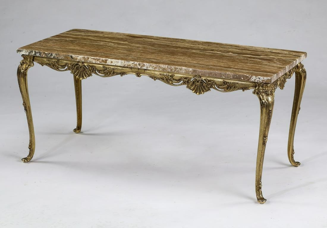 Louis XV style coffee table with faux travertine top