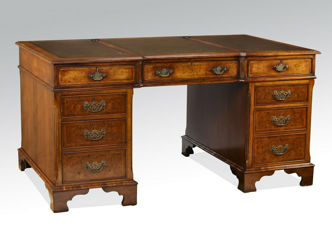Leather and burl wood Georgian style pedestal desk