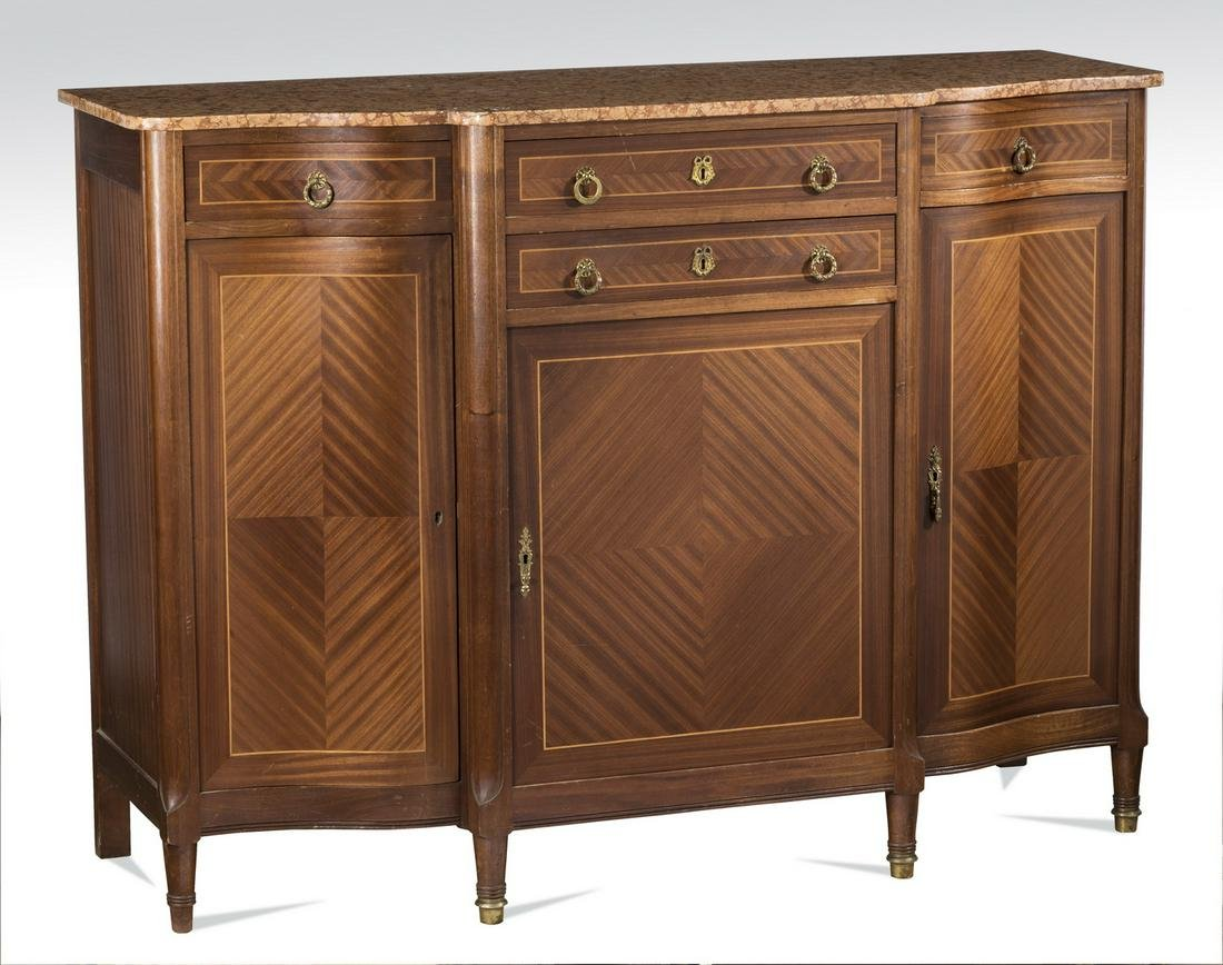 """Early 20th c. French marble top walnut buffet, 60""""w"""