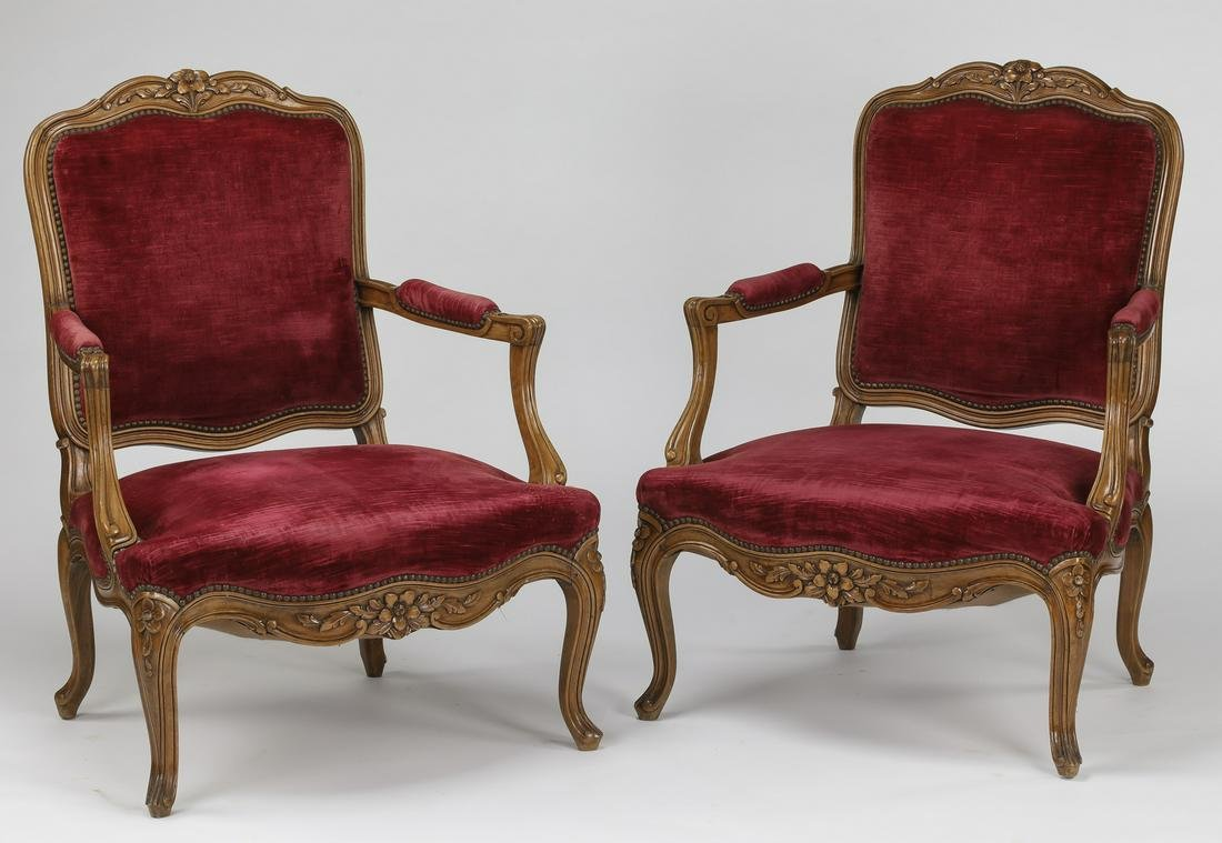 (2) Early 20th c. French walnut armchairs in velvet