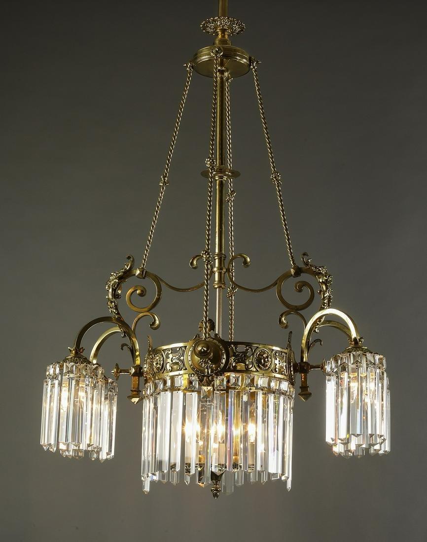 Victorian bronze and crystal 7-light chandelier