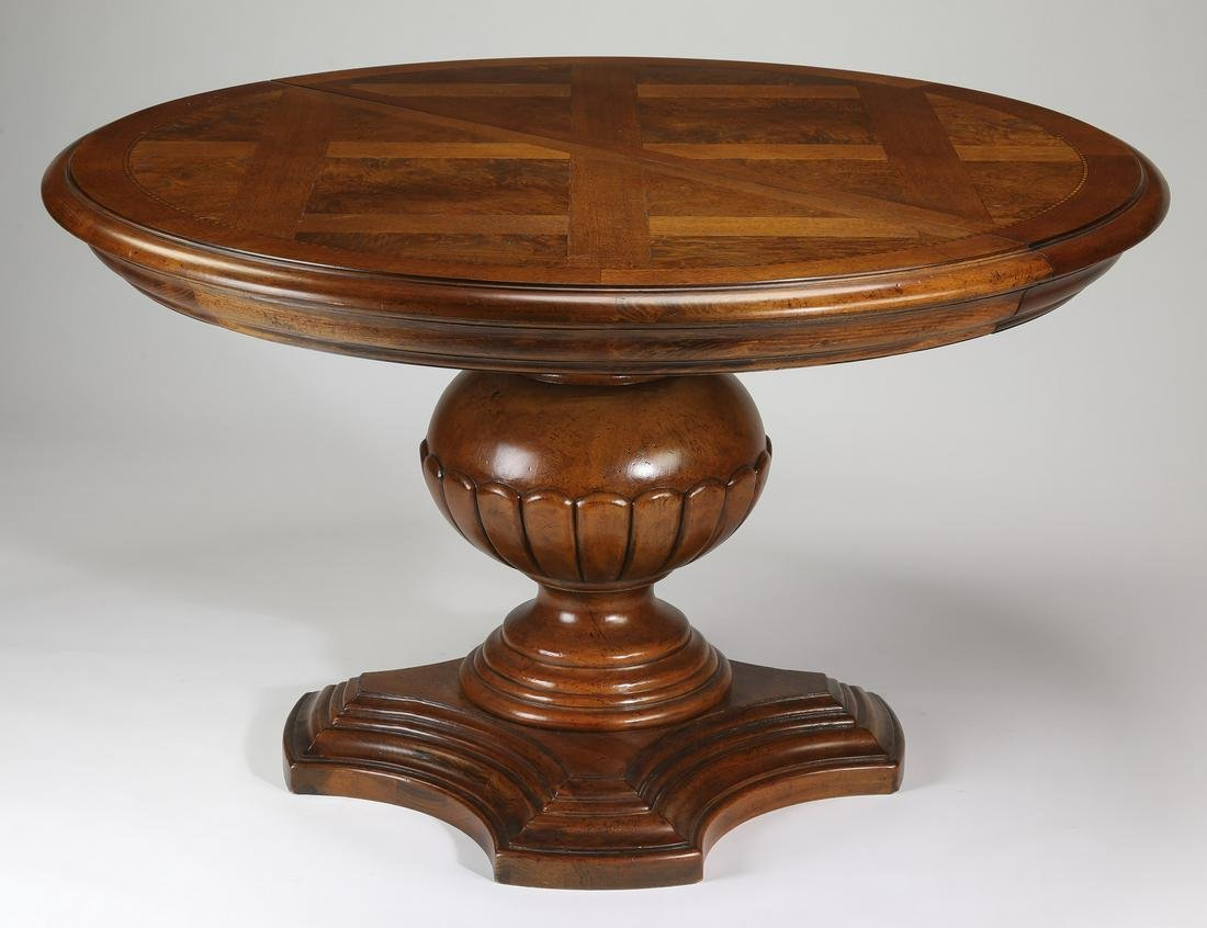 Round Empire style mahogany table with leaf