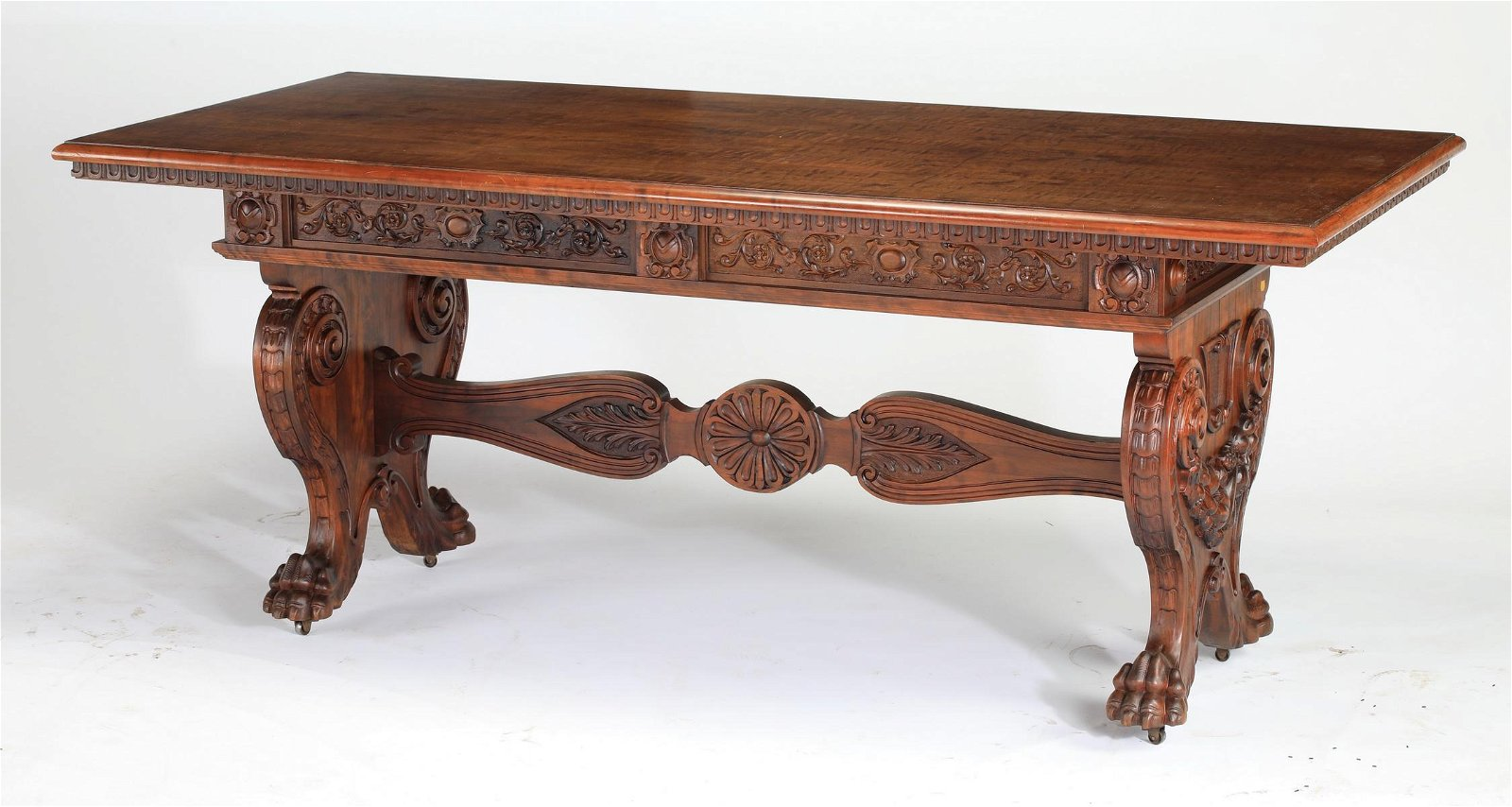 19th c. French carved walnut table w/ paw feet