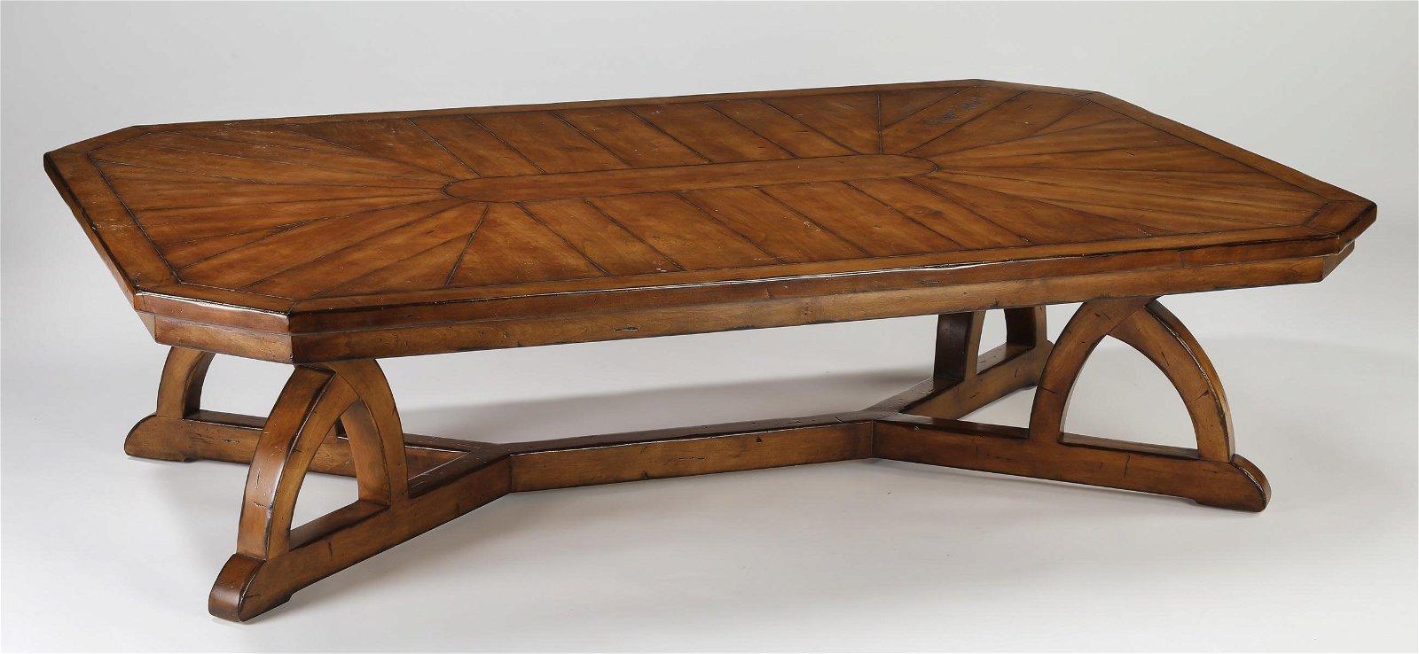 """Contemporary mahogany coffee table, 72""""w"""