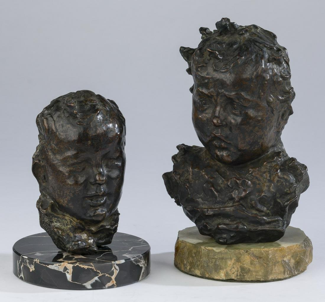 """(2) Continental bronze busts of infants, 5""""h and 7""""h"""