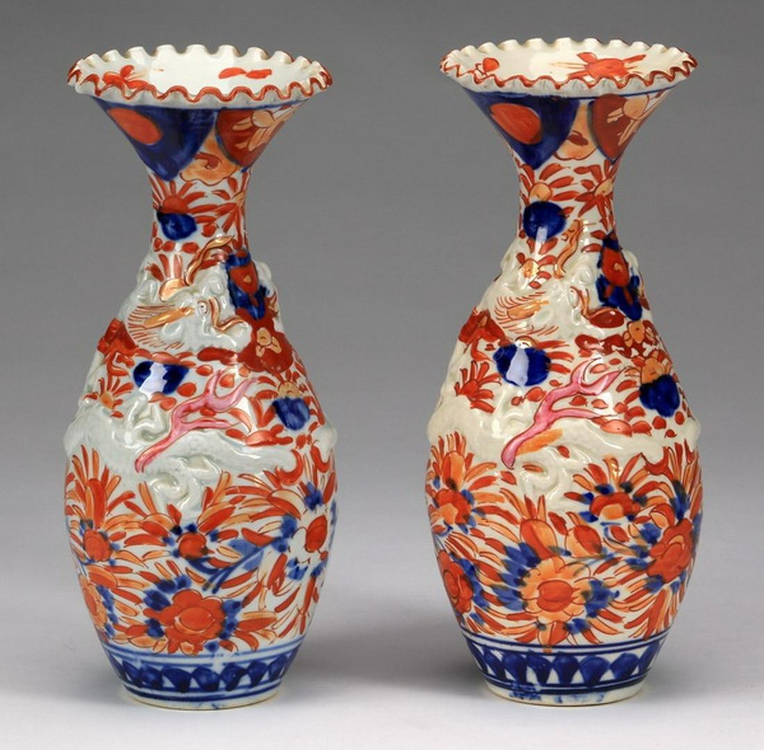 """(2) Japanese Imari vases, 19th c., 10""""h"""