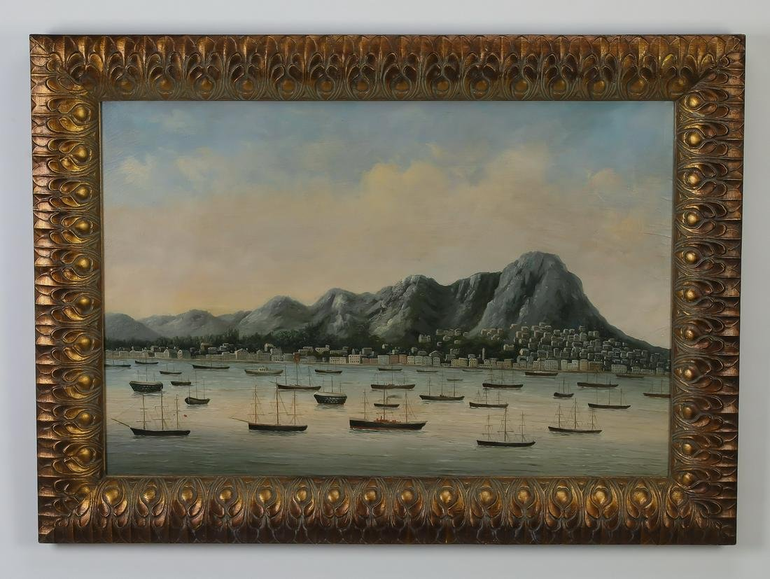 Chinese O/c trade painting of Hong Kong harbor