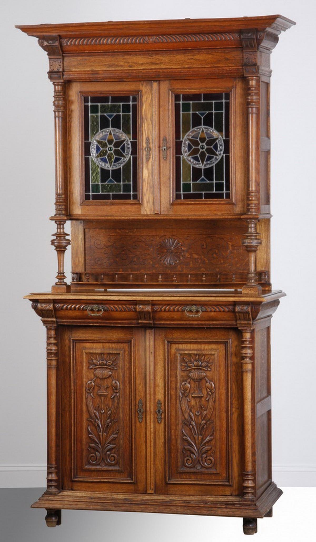 19th c. French oak buffet w/ stained glass panels