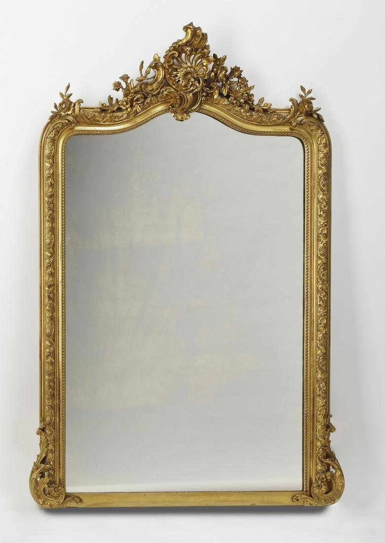 19th c. French Rococo style carved giltwood mirror
