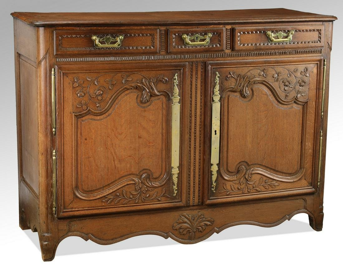 "19th c. French Lyonnais carved oak buffet, 56""w"