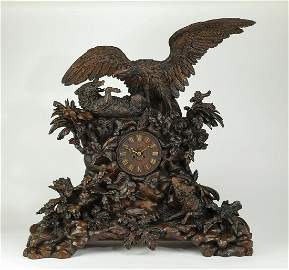 Exceptional 19th c. carved oak Black Forest clock