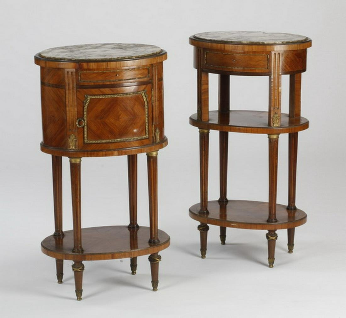 (2) 19th c. French oval marble top nightstands