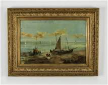 19th c. Continental School O/c fishing scene, signed