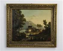 19th c. Continental School O/c landscape, signed