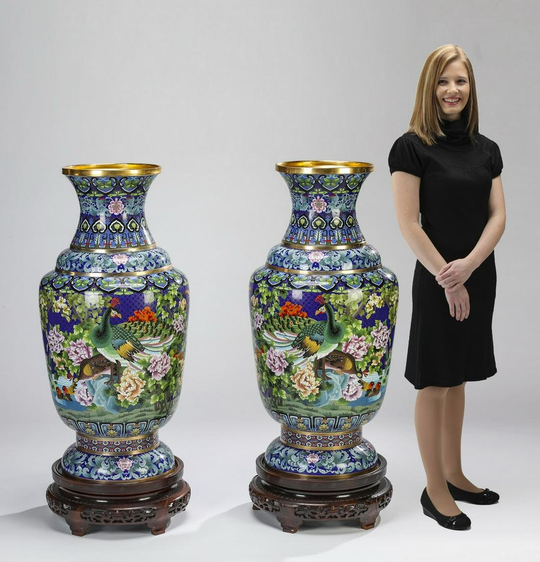 """(2) Chinese cloisonne peacock vases on stands, 47""""h"""