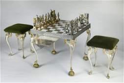 Piero Benzoni signed 24kt gold plated chess set