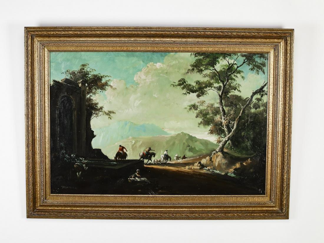 "Germaine Tramier O/c painting of shephers, 44""w"