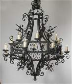 French Gothic style wrought iron 6-light chandelier