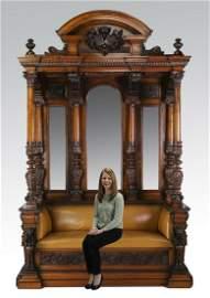 Attrib. to Luigi Frullini, carved walnut hall bench