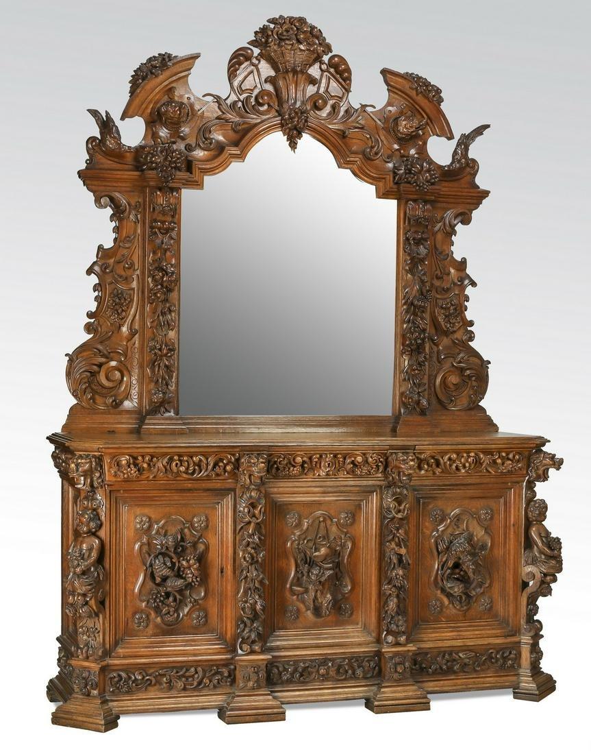 Monumental French Baroque Revival oak buffet, 19th c