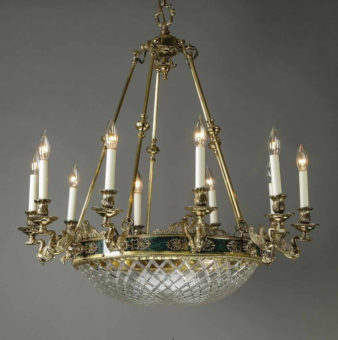 Italian Empire style ten-light bronze chandelier
