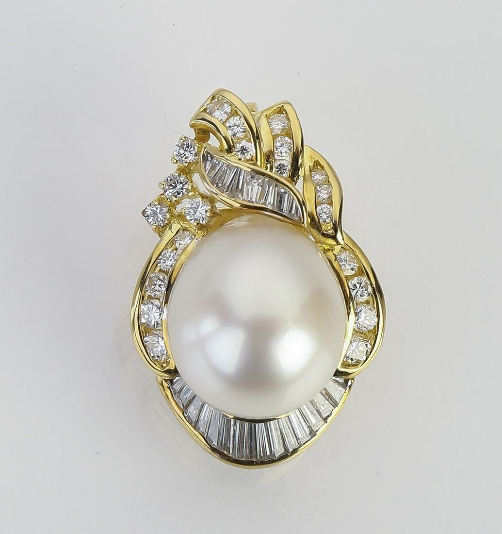 South Sea pearl, diamond, and 18k gold pendant