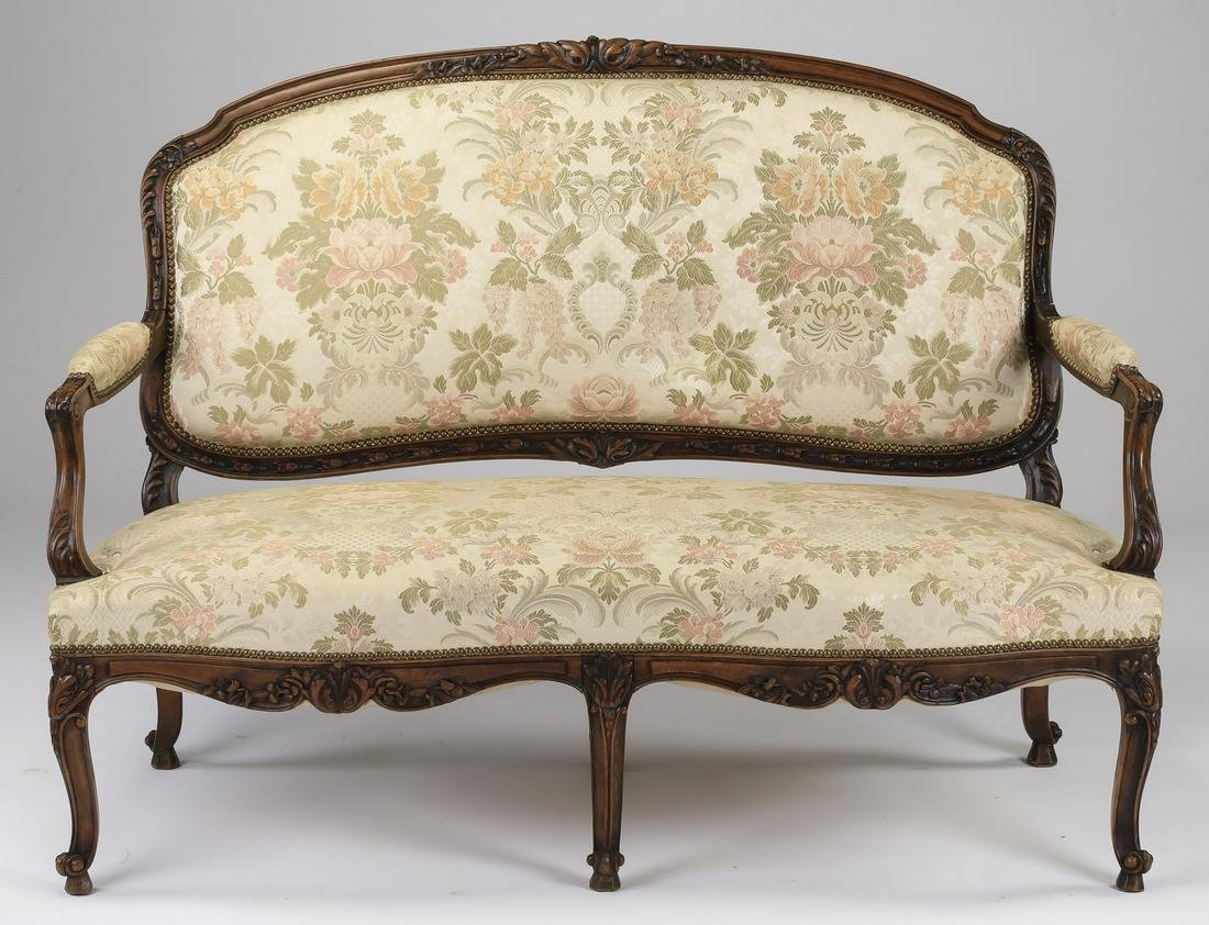 """Late 19th c French Louis XV style settee, 56""""w"""