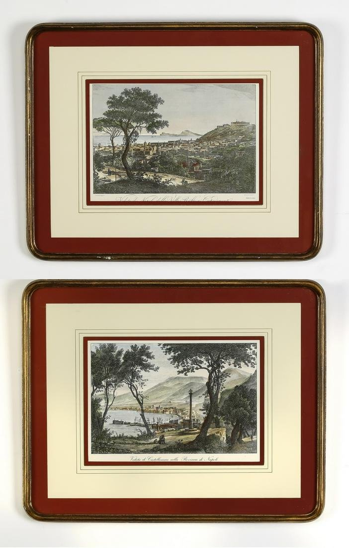 (2) 19th c. Italian hand-colored engravings