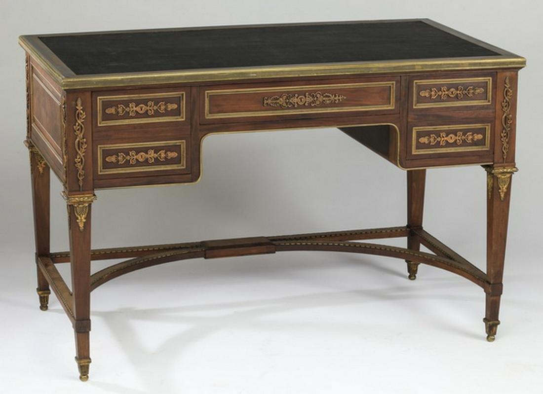 French mahogany & gilt bronze bureau plat, 19th c.