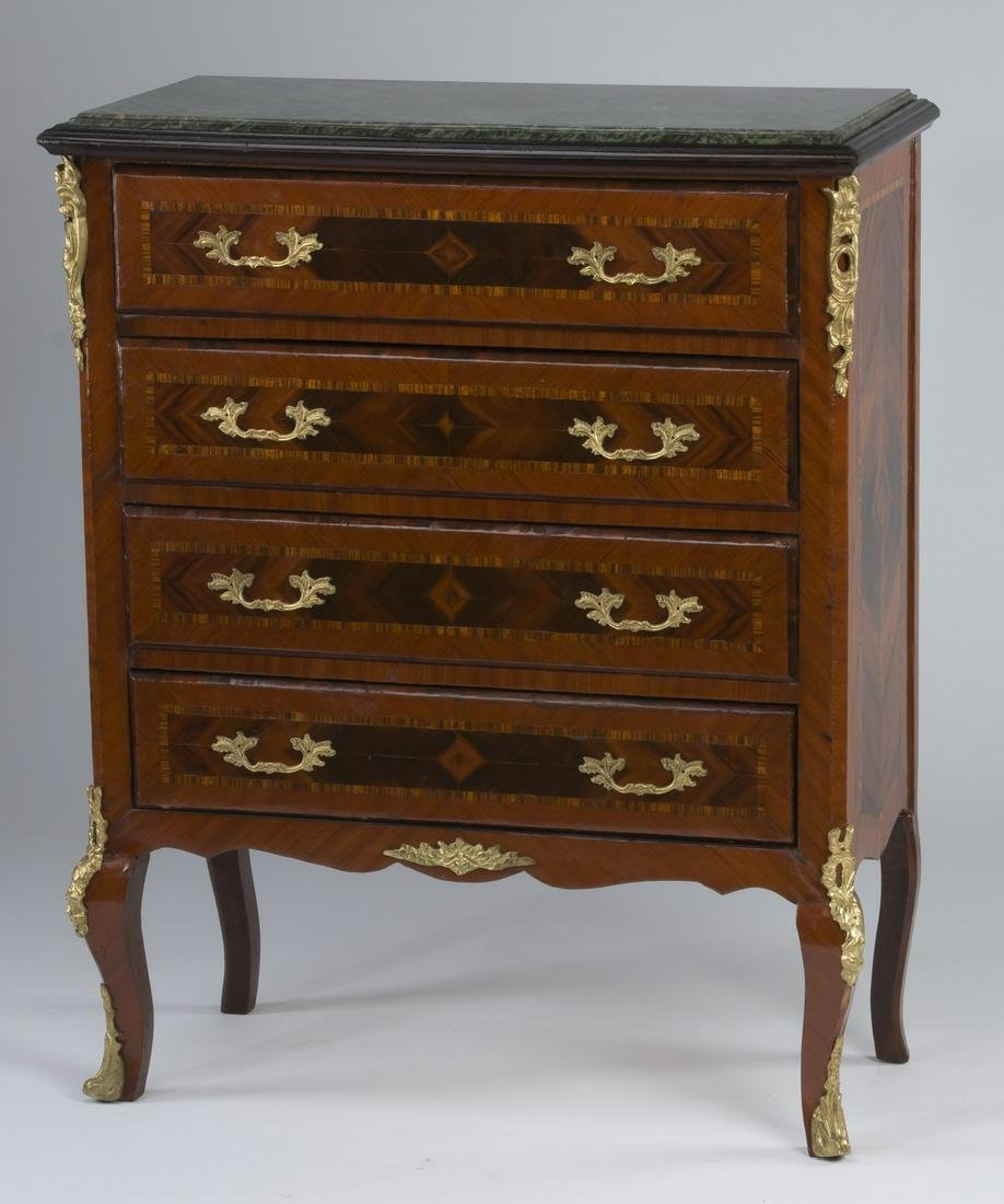 """French marble top four drawer chest, 38""""h"""