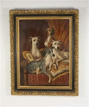 Contemporary O/board portrait of Italian greyhounds