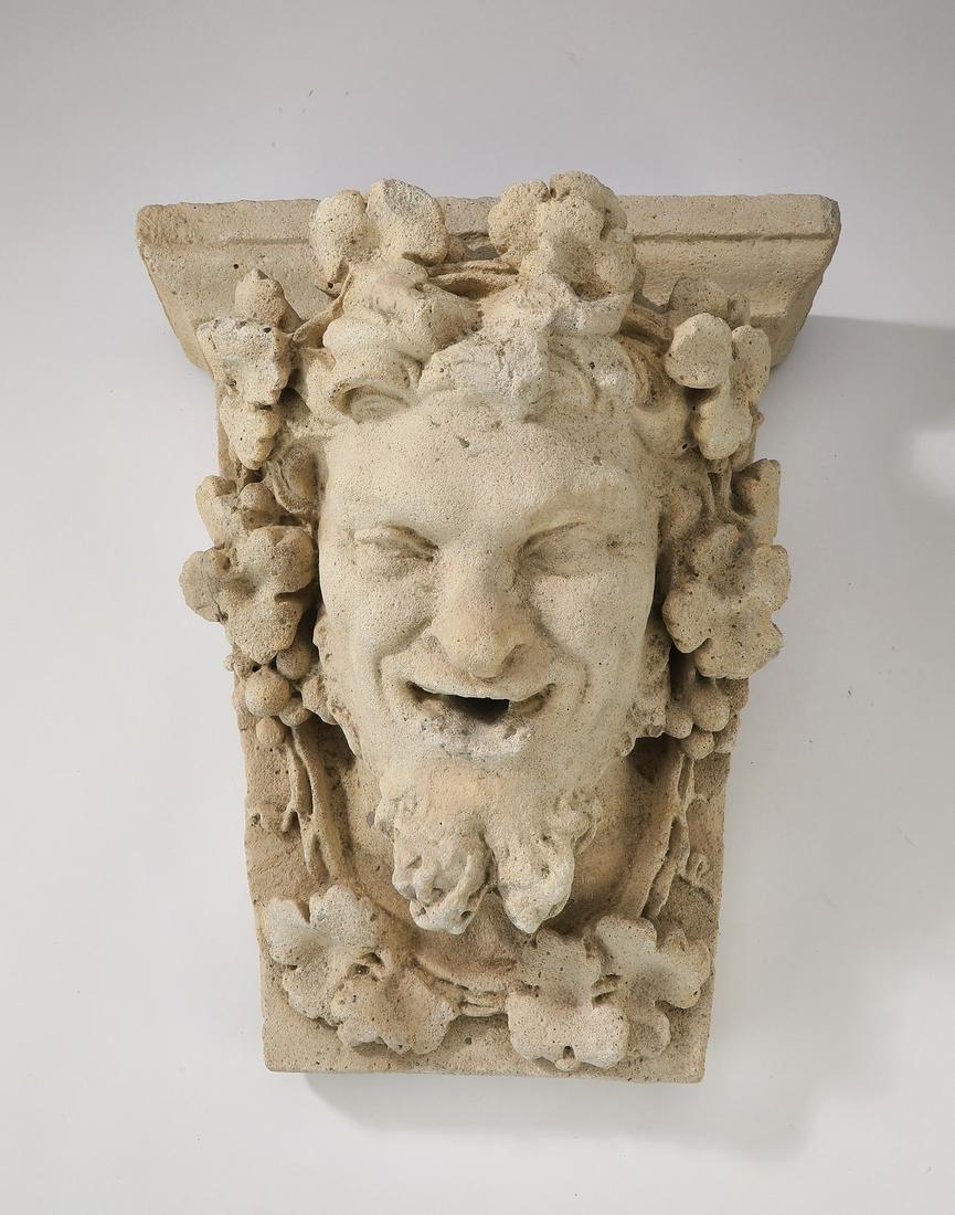 "Cast stone Green Man architectural element, 13""h"