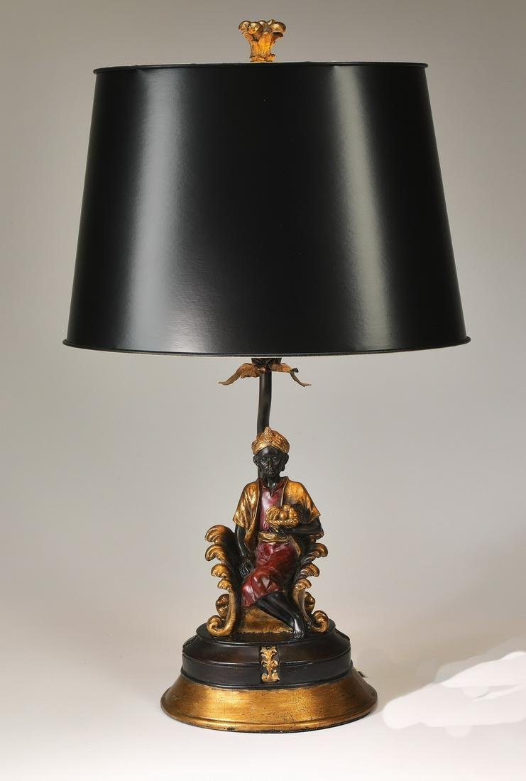 Blackamoor table lamp with black oval shade