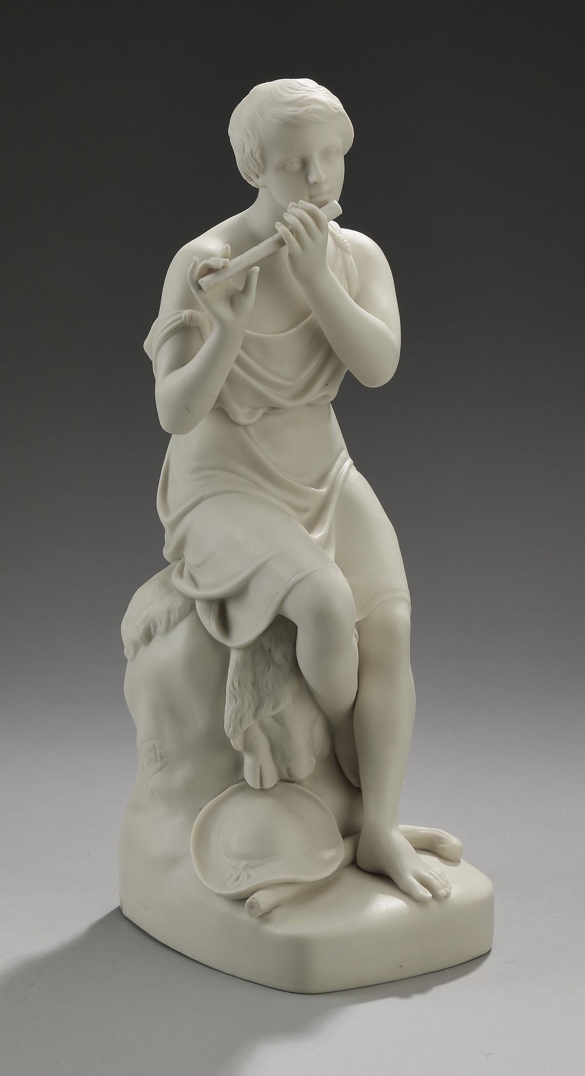 "19th c. Copeland parian figure of a shepherd, 14""h"