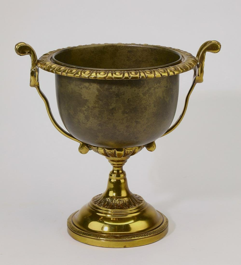 """Maitland Smith brass and patinated metal urn, 11""""h"""