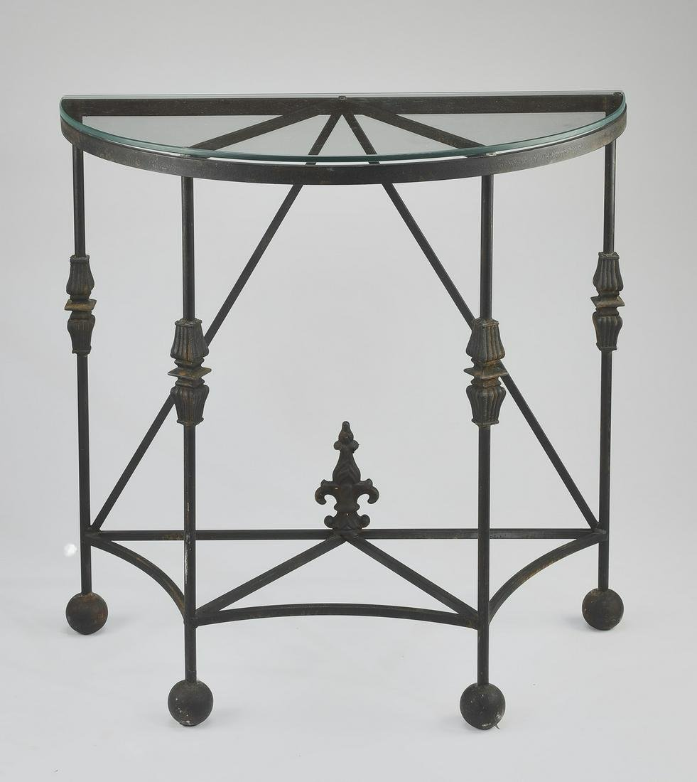 Contemporary wrought iron and glass demilune table