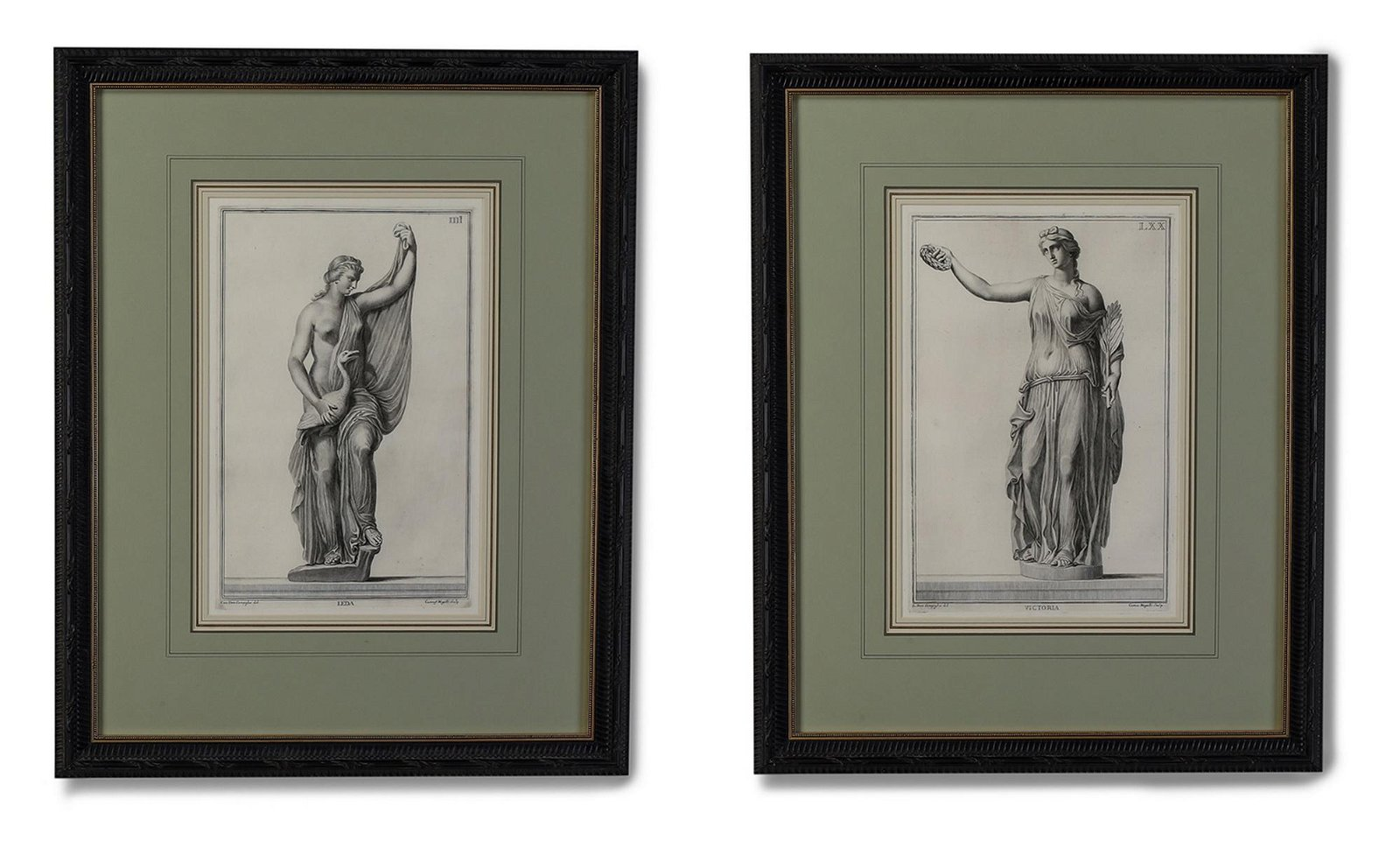 (2) Mogalli 18th c. engravings in the classical taste