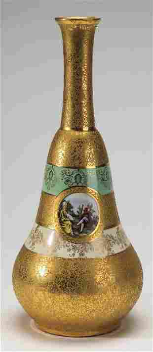 Early 20th c Continental gilded vase 13h