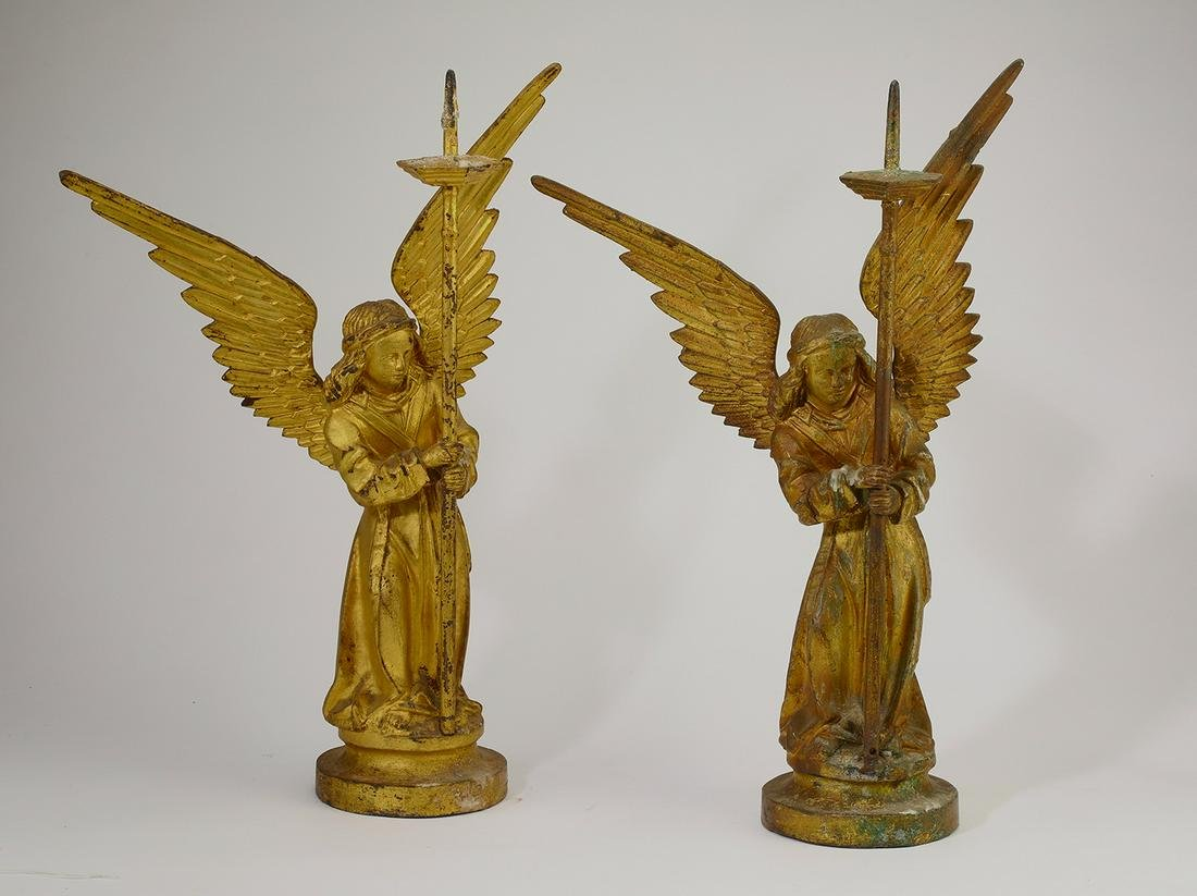 "(2) 19th c. gilt bronze angel candle prickets, 22.5""h"