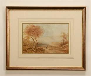 Copley Fielding signed Wc landscape 19th c