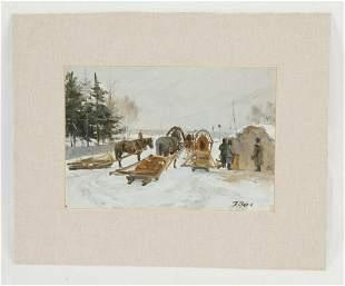 Midcentury Russian Ocard titled Winter Season