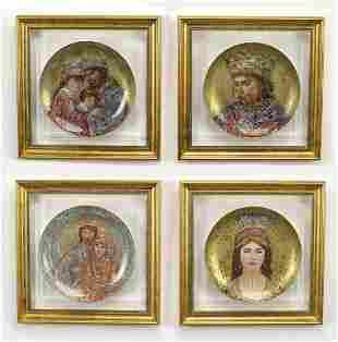 4 David hand painted plates by Hibel