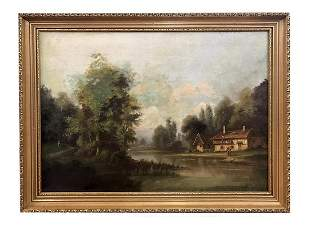 19th c Oc stone house near a lake signed