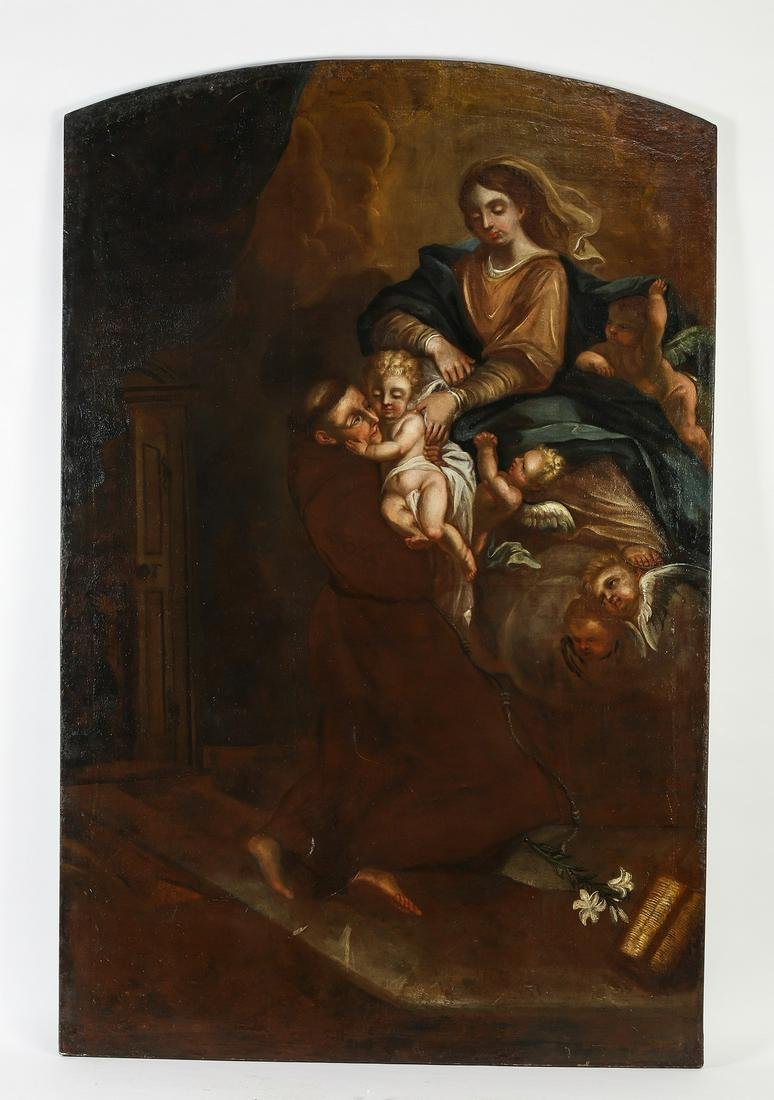 Monumental 18th c. O/c, St Anthony and Christ child